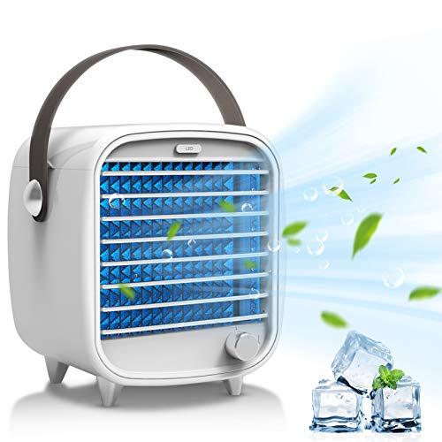 Climatizador portátil Joycabin Stepless Speed Regulation Aire acondicionado Ventilador con 2 bandejas de cubitos de hielo, luz ambiental LED, ventilador USB para oficina, hogar, dormitorio