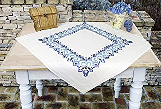 Kamaca Stickpackung Tischdecke Ornamente Kreuzstich vorgezeichnet aus Baumwolle Stickset mit Stickvorlage Mitteldecke 80x80 cm