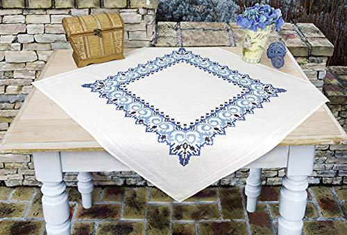Kamaca Kit de punto de cruz para mantel con plantilla de bordado (mantel de 80 x 80 cm)