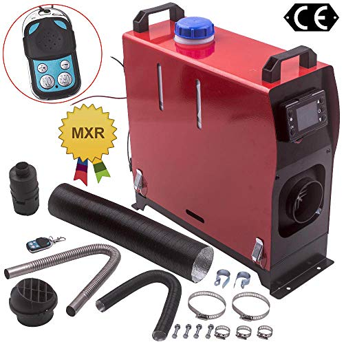 maXpeedingrods 5KW 12V Diesel Air Heater 10L Tank LCD Thermostat Monitor + Remote Control + Silencer for Bus Van Boat Trucks
