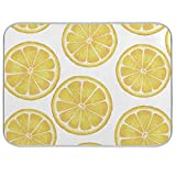 Yellow Sliced Lemon Dish Drying Mat for Kitchen Counter 18 x 24 inch-Absorbent Microfiber Dish Mat, Reversible Drying Pad Dish Drainer Rack Mats for Countertop Fast Dry Kitchen Accessories…