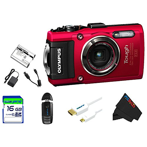 "Olympus OLYTG4RD-16GB4PC Stylus 16 Waterproof Digital Camera with 4x OIS Zoom, 3"" LCD (Red)"