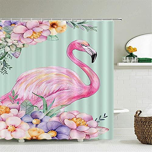 Cortinas baño 3D Lavable poliéster Cortina de baño de Tela con 12 C-Ganchos Impermeable Cortina de Ducha para la decoración del baño- Pájaro 180x180cm