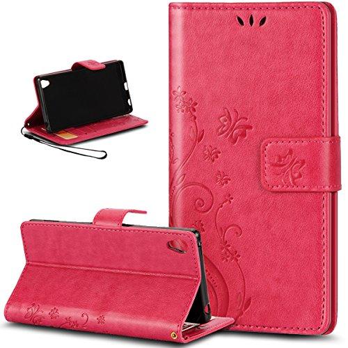 ikasus® Étui de protection en cuir synthétique avec rabat, fonction support et porte-cartes pour Sony Xperia Z3+/Z4 Motif papillons Gris/rose/rouge Sony Xperia Z3+ / Z3 Plus / Z4 Rouge chiné