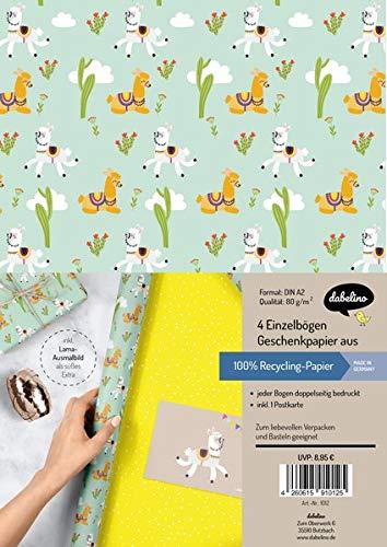 Geschenkpapier-Set für Kinder: Lama/ Alpaka: 4x Einzelbögen + 1x Postkarte