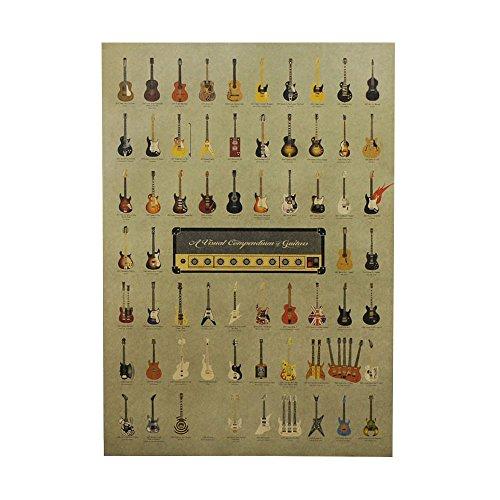 Haihuic Cartel Antiguo de Estilo Antiguo Imprimir Papel Kraft Vintage Arte de la Pared para la decoración casera Café Retro Bar 51.5 × 36 cm Guitarras