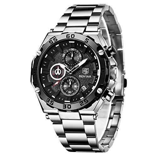 BENYAR Orologio Cronografo da Uomo impermeabile da polso al quarzo analogico in acciaio inossidabile Business 30 M Impermeabile e Antigraffio Elegante Regalo da Uomo