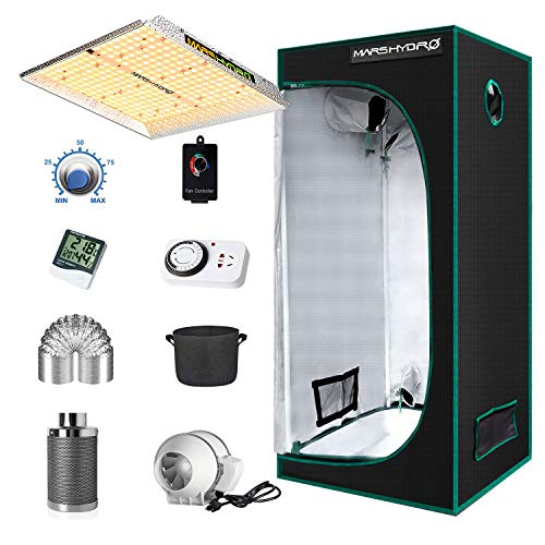 MARS HYDRO Grow Tent Kit Complete 2.3x2.3ft TS1000W LED Grow Light Dimmable Full Specturm Indoor Grow Tent Complete System, 27