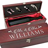 Personalized Wood Wine Box - Anniversary Ceremony Couples Wedding Wine Box Holder - Custom Engraved (Rosewood)