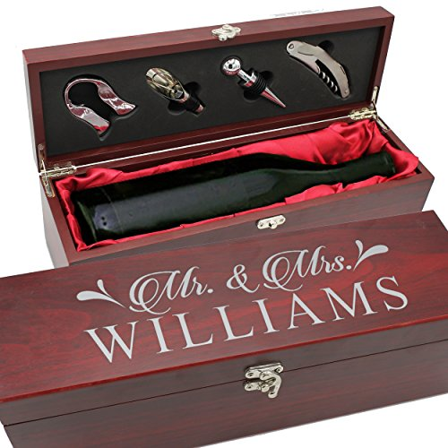 Personalized Wood Wine Box - Anniversary Ceremony Couples Wedding Wine Box Holder - Custom Engraved (Rosewood)