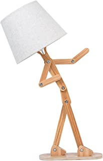 VOGLEE Novelty Cool DIY Desk Lamp for Kids Bedroom Adjustable Beside Table Lamp Swing Arm Wood Nightstand Light Living Room Dorm (Wooden)