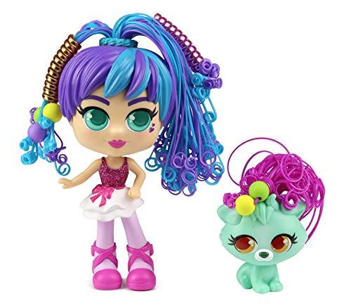 CURLIGIRLS 82098 Rosli & Koda – magisches Haar für unendliche Frisuren – Geschenk für Mädchen – inklusive Zubehör – Puppe 15 cm – Tier 6 cm
