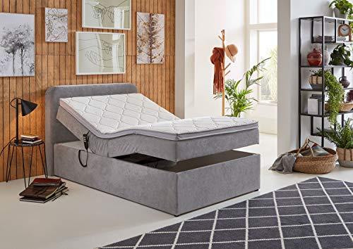 GMD Living Boxspringbett Gabriela LF 120 x 200 cm mit Bettkasten und motorischer Verstellung in hellgrau, Farbe:hellgrau, Größe:LF 120 x 200