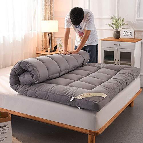 CVNJSKDKH Alto Grado de Hotel Topper Dormir cojín, Estera, una Memoria futón de Espuma Plegable futón de algodón Acolchado Antideslizante Suelo (Color : A, Size : 90x190x10cm)