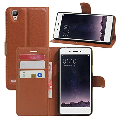 HualuBro Oppo F1 Hülle, [All Aro& Schutz] Premium PU Leder Leather Wallet HandyHülle Tasche Schutzhülle Flip Hülle Cover mit Karten Slot für Oppo F1 Smartphone (Braun)
