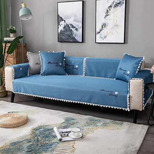 Homeen Funda decorativa para sofá de dormitorio de niña, funda protectora de sofá de verano, funda universal para sofá de 2/3/4 plazas, sofá de esquina, sofá en forma de L, azul (110 x 240 cm)