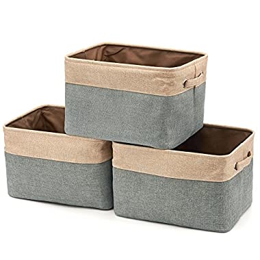 EZOWare Collapsible Storage Bin Basket [3-Pack] Foldable Canvas Fabric Tweed Storage Cube Bin Set with Handles for Home Office Closet