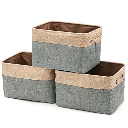 EZOWARE Aufbewahrungskorb aus Leinen mit Griffen, Faltbare Aufbewahrungsbox, Canvas Stoffkorb für die Organisation Kinderzimmer, Spielzeug, Schrank – 3er Set (Grau/Beige)