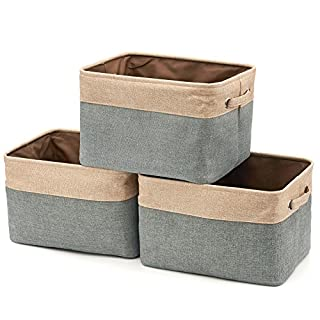 EZOWare Set of 3 Large Canvas Fabric Tweed Storage Organizer Cube Set W/Handles for Nursery Kids Toddlers Home and Office - 15 L x 10.5 W x 9.4 H -Gray/Brown (B01MCYSBL6) | Amazon price tracker / tracking, Amazon price history charts, Amazon price watches, Amazon price drop alerts