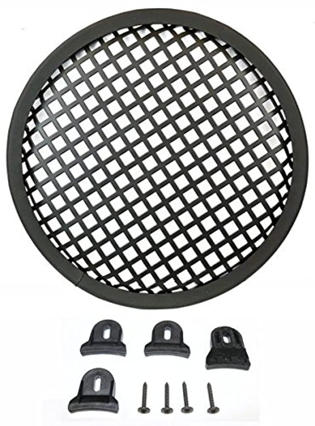Durable 8-in Diameter Steel Monster Mesh Grill For 8-in Woofers With Hardware Steel Waffle Mesh Rubber Edge Includes Four Slip Resistant Plastic Grill Clamps And Appropriate Screws DEEJAYLED TBH8GR