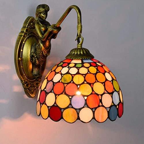 Douerge Lámpara de Pared de Estilo, lámpara de Pared de vitrales de Arte, salón Bar del Hotel lámpara de Pared Retro mesita de Noche Dormitorio,B