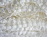 10 Meters Loop Elastic Lace Edge Trim Corset Button Braid Cord Ribbon 1.5 cm Width Vintage White Black Edging Trimmings Fabric Embroidered Applique Sewing Craft Dress Clothes Decor (White)