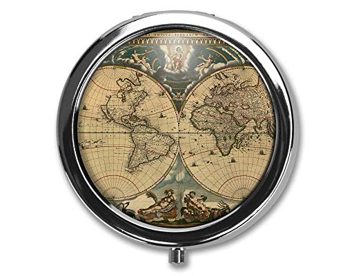 Diseño de mapa antiguo Pastillero redondo/Pastillero/Pastillero/Estuche- Pastillero de tres compartimentos/Pastillero