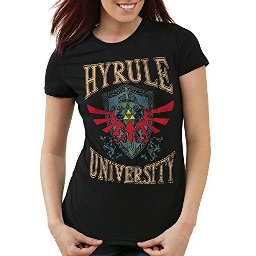 style3 University of Hyrule Damen T-Shirt, Farbe:Schwarz, Größe:M