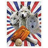 HommomH Wolf-Decke, Softball-Baseball-Ausrüstung, weicher flauschiger Fleece-Überwurf, 152,4 x...