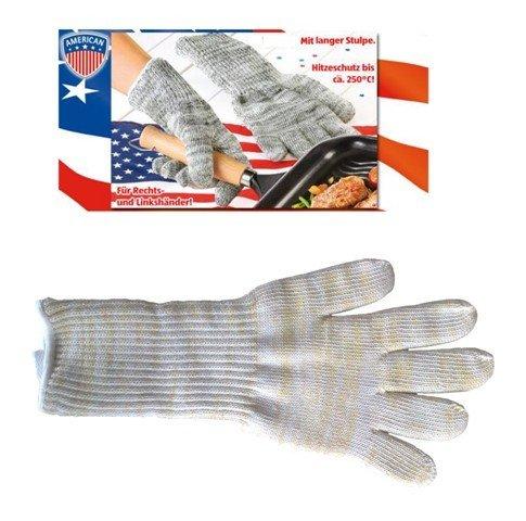 Fachhandel Plus 2 Stück Hitzeschutz-Handschuh, Handschuh, Hitzeschutz für Grill, Kamin, Ofen Backofen bis 250° Stulpe lang