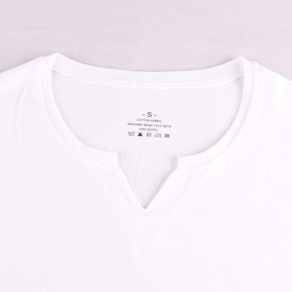 palglg Hommes Coupe Slim Manche Longue Henley T-Shirt D/écontract/ée Col en V Maillots de Corps Coton