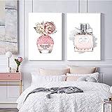 ZYQYQ Póster de botella de perfume, pintura en lienzo de flores, arte de pared minimalista, imagen nórdica para decoración de sala de estar, 40x60cmx2 sin marco