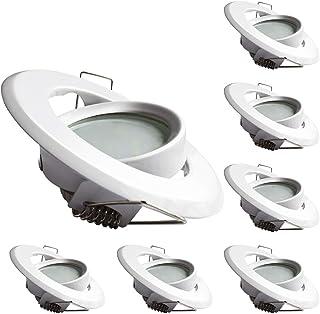 Lampaous Foco LED empotrable de 5 W, módulo orientable, foco empotrable de techo, juego de 6, 230 V, redondo, blanco frío,...