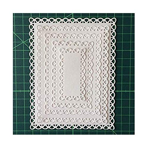 Nested Stitched Scallop Rectangle Frame Cutting Dies, Metal Cutting Dies Stencils DIY Etched Dies Craft Paper Card Making Scrapbooking Embossing 10.7X13.9 cm