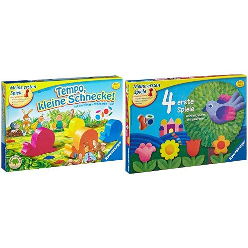 Tempo, kleine Schnecke - 21420 Ravensburger erste Spiele / das Kinderspiel ab 3 Jahren & Ravensburger 21417 4 erste Spiele