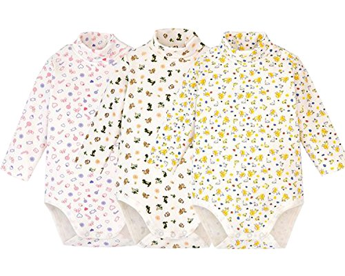 Infant Baby Boys Girls Long Sleeves Thermal Onesies Turtle-Neck Baby Bodysuit Fall Winter Clothes Outfit (Floral Series (3 of Pack),...