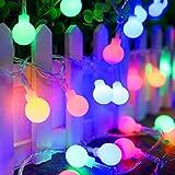 String Lights, ADORIC Festoon Lighting 10M 100 LED Battery Operated Globe Lights Waterproof, 8 Modes Lighting, Decoration for Halloween, Christmas, Festivals (Red, Green, Blue, Yellow)