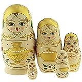 Azhna Juego de 5 matrioska, 10,5 cm, souvenir, matrioska, decoración del hogar, muñecas rusas...