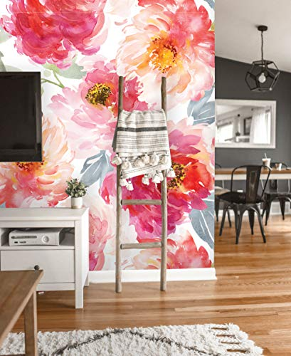 Removable Wallpaper | Peel and Stick Floral Wallpaper | Self Adhesive Watercolor Flowers Wallpaper | Peonies Mural (24'W x 96'H Inches)