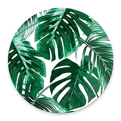 Mouse Pad Tropical Leaf Leaves Custom Non-Slip Rubber Green Beautiful Design Mousepad Round Art Print Comfortable Mouse Pads for Computers Laptop Desk Decor