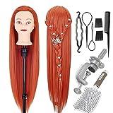 Cabezal de peinado Neverland 26-28 pulgadas cabeza de entrenamiento maniquí cabello 100% cabeza de muñeca peluquera de fibra sintética para la práctica con abrazadera+ cepillo de pelo