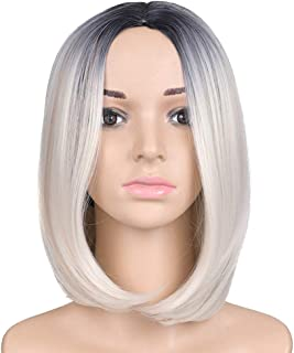 IQQI Wigs Short Straight Hair Gold Silver Natural Fashion Perfect for Perfect Dress Up for Halloween, Concerts, Theme Parties, Weddings, Dating,Orange