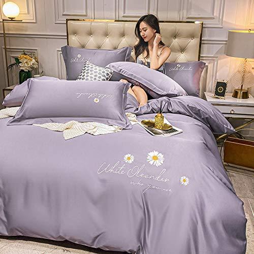 funda nordica cama 150,Conjunto de cobertura de seda de seda de satén con cremallera Conjuntos de colección de ropa de cama de 4 piezas de calidad de cierre con cremallera -100% Protector de Microfib