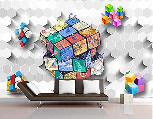 XHXI Papel pintado personalizado Figuras geométricas para niños Rubik Cube Home 3D Papel pintado 3D papel Pintado de pared tapiz Decoración dormitorio Fotomural-200cm×140cm