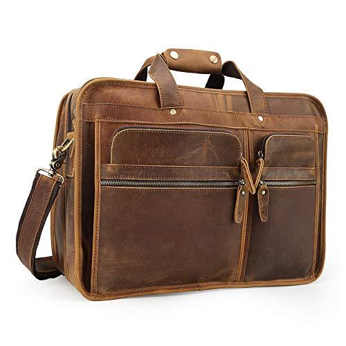 Vints Herren Echtes Leder Tote Laptop Tasche Schultertasche Aktentasche Umhängetasche für 17-Zoll-Computer Grosse Kapazität (Light Brown)