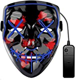 JCT Halloween LED Máscaras Purga Grimace Mask Horror Mask Scary LED Ilumina Máscaras para Halloween, Fiestas de Disfraces, Mascaradas, Carnavales, Regalos For Adultos Infantiles (Azul)