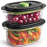 FoodSaver FFC025X Set di 2 Contenitori Salva Freschezza Sottovuoto con Funzione marinatura, 1 da 700 ml e 1 da 1.2 Litri, BPA Free, Indicatore del Vuoto, Trasparente