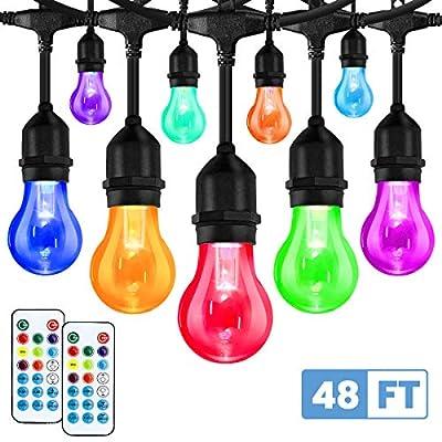 Elfeland LED Outdoor String Lights 48FT RGB Color Changing String Lights Dimmable Hanging Lights Patio Lights Backyard Lights Party Lights with 15Pcs Shatterproof LED Bulb & 2 Remote Controls