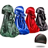 4PCS Silky Durags for Men 360 Waves, Designer Do Rag, 1 Wave Cap (Marij Blue Black Red)
