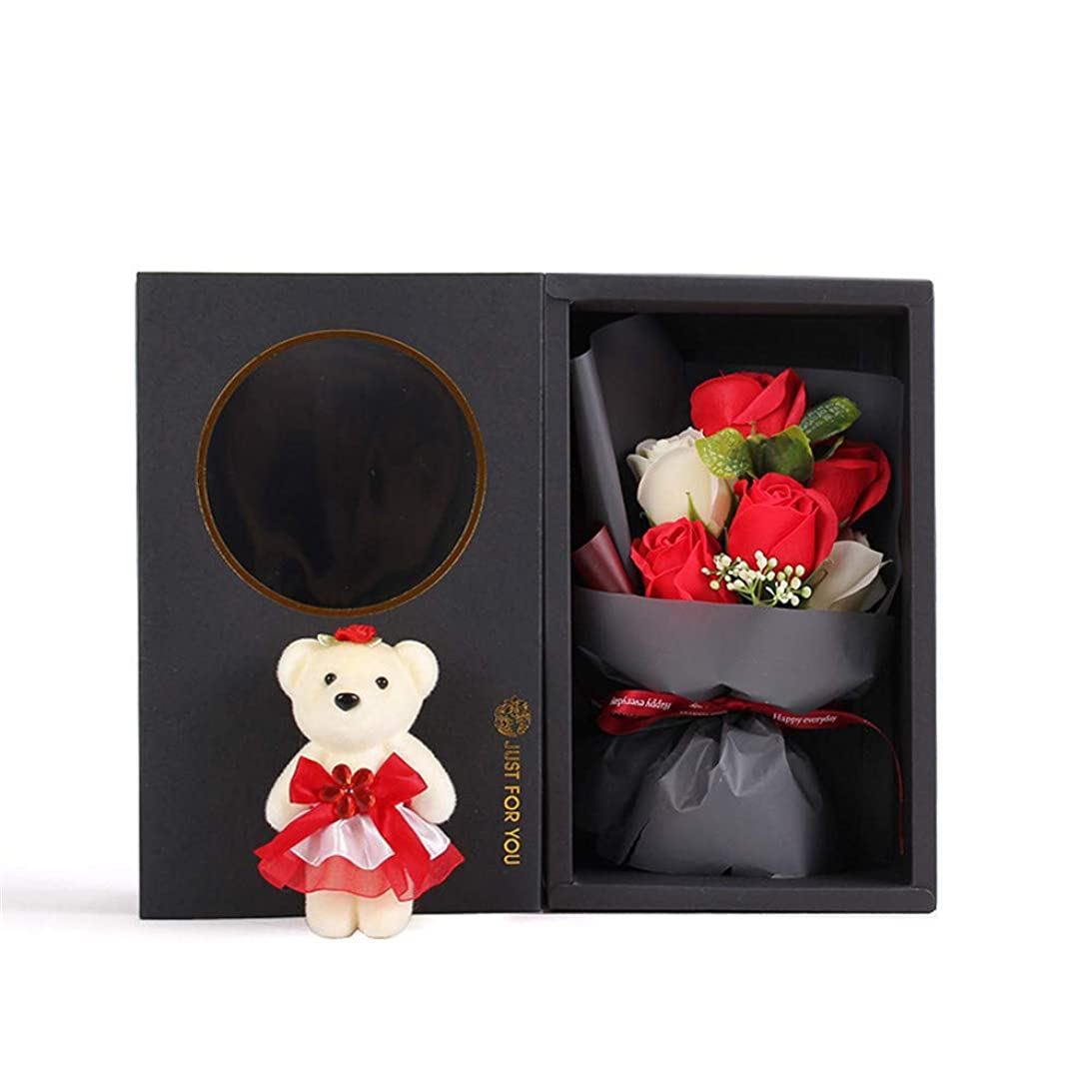 ジョグ飛行機貨物手作り6石鹸花の花束ギフトボックス、女性のためのギフトあなたがバレンタインデー、母の日、結婚式、クリスマス、誕生日を愛した女の子(ベアカラーランダム) (色 : 赤)